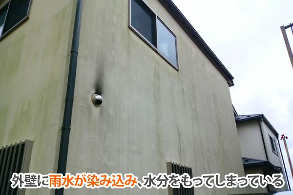 外壁に雨水が染み込み、水分をもってしまっている