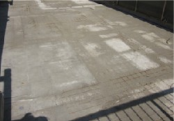 ウレタン防水を施工する前の陸屋根