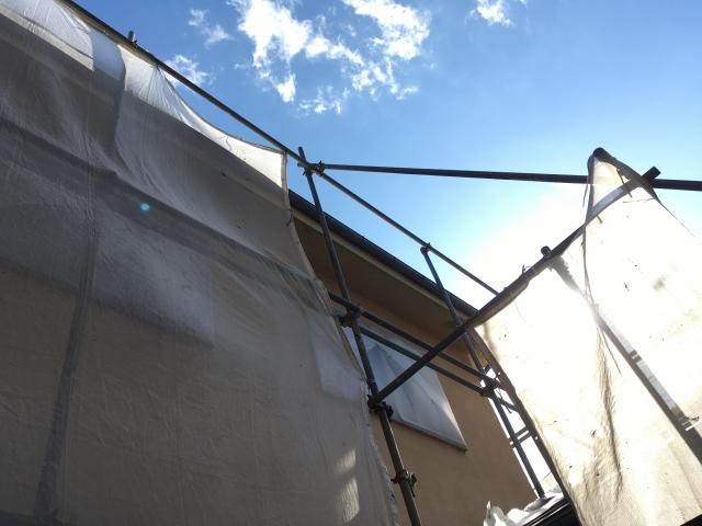 飛散防止シート 外壁塗装 足場