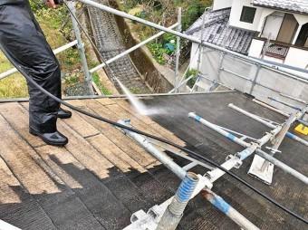 屋根塗装 高圧洗浄にかかる時間はまる1日