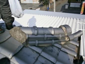 屋根漆喰の詰め直し