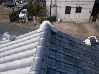屋根漆喰詰め直し