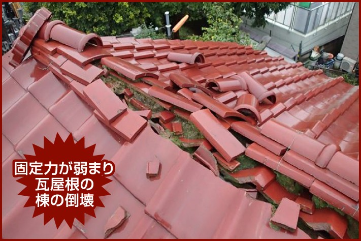 固定力が弱まり瓦屋根の棟の倒壊